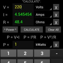 Android Ohms Law Calculator Application