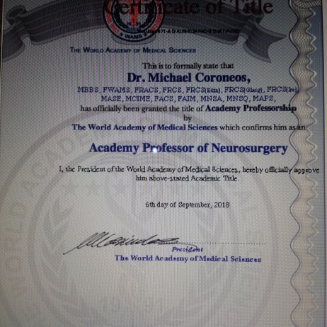 Academy Professor of Neurosurgery, WAMS