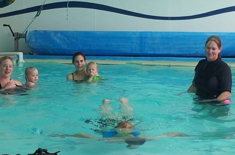 Jack swimming with Dad