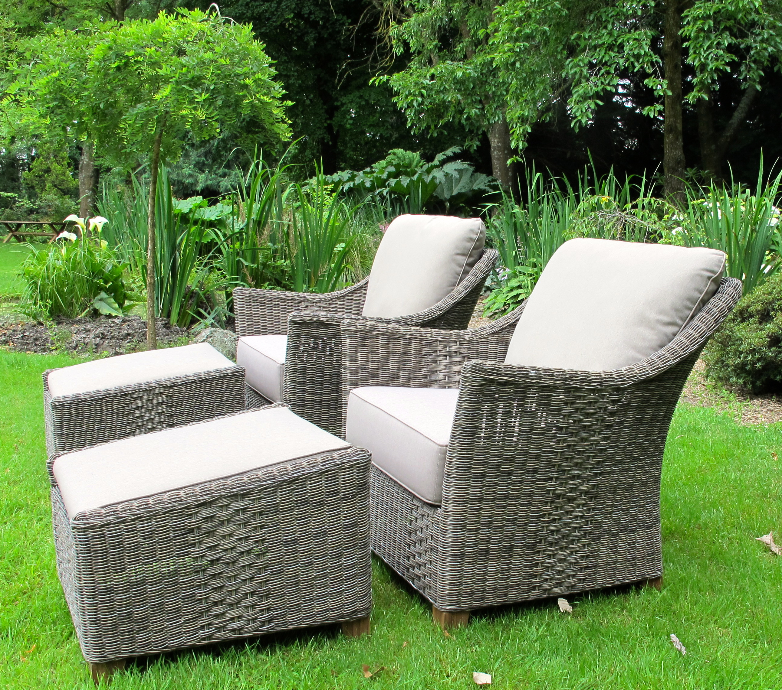 Murchison Chair and Footstool WovenVeranda Outdoor furniture wicker rattan cane wicker teak at