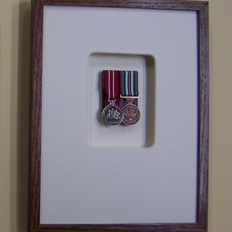 Framing miniature service medals