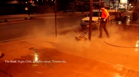 Townsville Concrete Cleaning, gum removal Flinders street, 2 am.