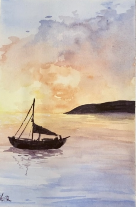 #10 Sunset with Boat Watercolour