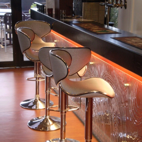 Bar stools recovered to compliment bar!