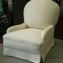 Beautiful! Reupholstery of an old arm chair.