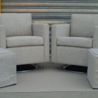 The Andy Swivel Chair and 2 ottoman loose covers.