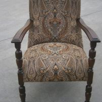 Restored Arm Chair For Sale, Repolished, Recovered in a Wilbro fabric, Melbourne area