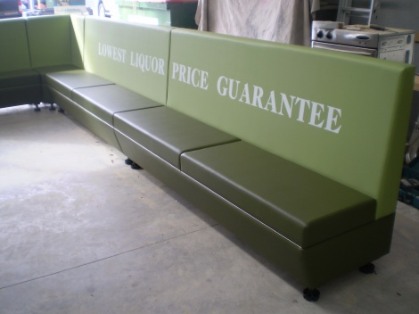 Now available - Printed Slogans on Wall Panels and Booth & Banquette Seating. Melbourne & Victoria