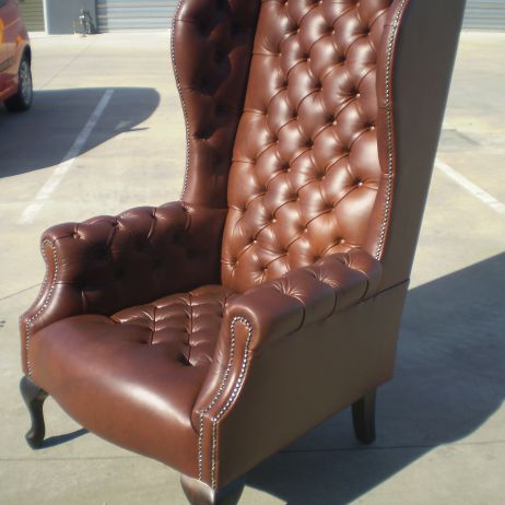 Leather Tufted High Backed Wing Chairs custom made in Melbourne
