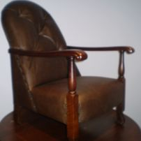 Buttoned Arm Chair Reupholstered in Leather by JARO, Melbourne