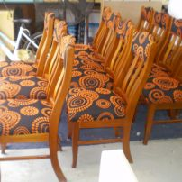 Wood Dining Chairs reupholstered for a Retro look by JARO, Melbourne