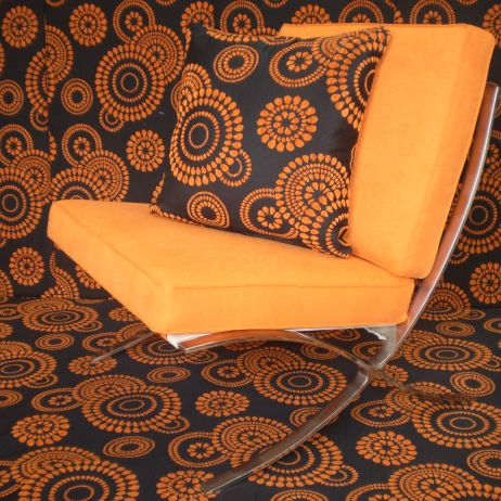 Barcelona Chairs reupholstered in Orange for a Retro feel by JARO Upholstery, Melbourne