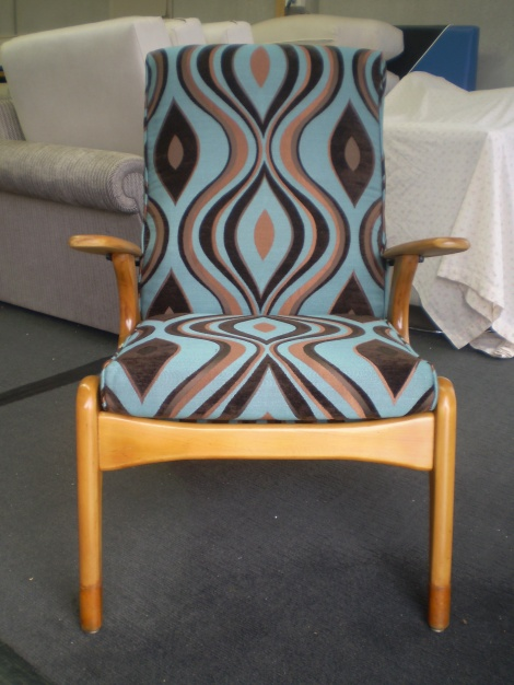 Restored Chair with new polish & upholstery, Melbourne & Gippsland Reupholstery Service