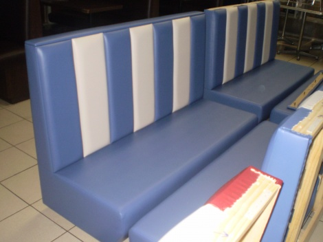 Blue & White Banquette or Booth Seating available in Melbourne & Sydney from JARO Upholstery.