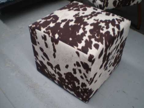 Cube Ottoman in Cow Hide Design available in Melbourne at JARO Upholstery $150