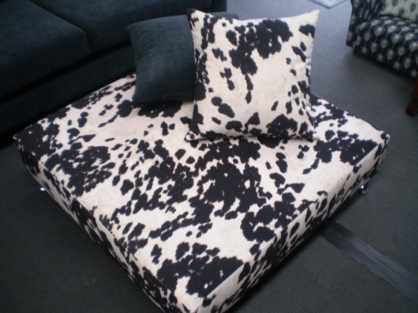 Large 1m x 1m Ottoman in Cow Hide Print $375 available in Melbourne