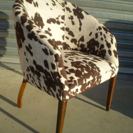 Bold Eye Catching Tub Arm Chair in Cow Hide Printed Fabric, Melbourne