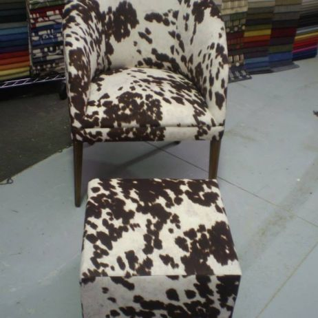 JARO Tub Chair & Ottoman - new cow hide look fabric design, Melbourne