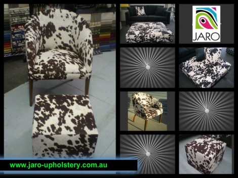 JARO's Cowhide Print Furniture, Sofas, Chairs, Ottomans, Scatters now available in Melbourne