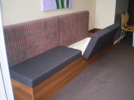 Storage Ideas - Storage banquette seating for businesses or home by JARO Upholstery, Melbourne