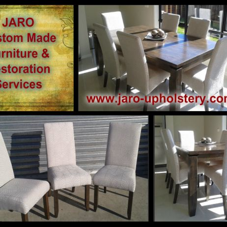 Custom Made Dining Chairs or Reupholstery Service by JARO servicing Melbourne & Gippsland areas.