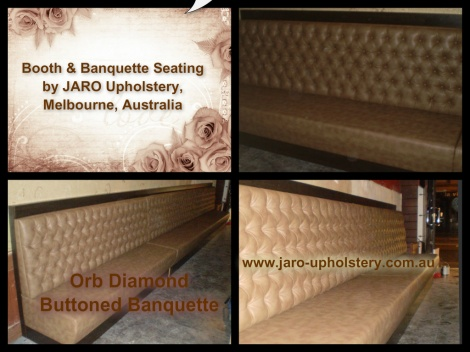 The Orb Diamond Buttoned Banquette Seat available for Melbourne Restaurants & Cafes