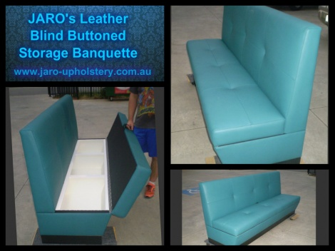 Teal Leather Blind Buttoned Storage Banquette available in Melbourne