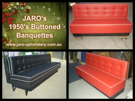 JARO's 1950 Buttoned Banquettes and Booths for Melbourne Homes, Cafes & Restaurants.
