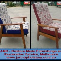 2 Toned Arm Chair Reupholstery available at JARO Upholstery, Melbourne