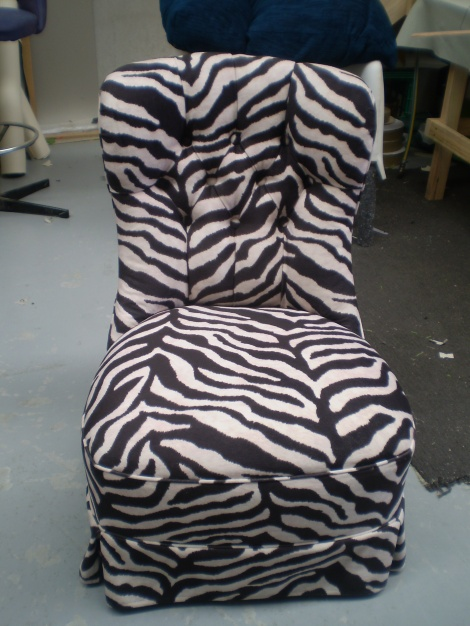 Bedroom Chair Reupholstered in Zebra