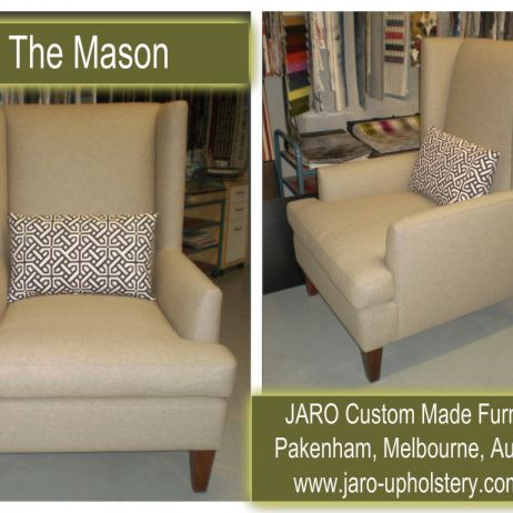 The Mason Modern Winged Arm Chair by JARO Upholstery, Melbourne