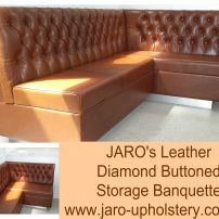 Diamond buttoned banquette seat fitted into a Gooseneck float by JARO