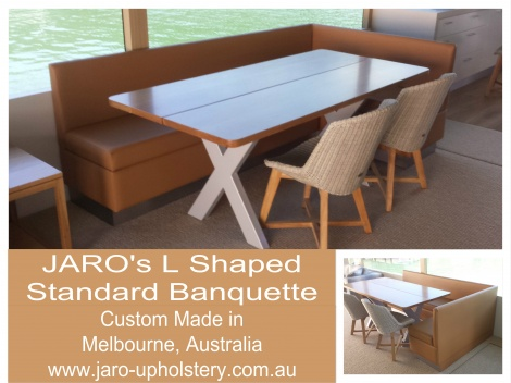 JARO's L Shaped Banquette Seat manufactured in Pakenham, Melbourne. Other styles & colours available
