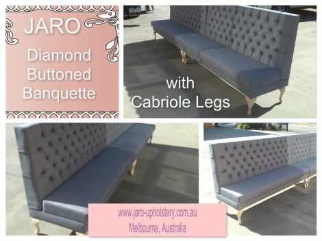 Diamond Buttoned Banquette with Cabriole Legs
