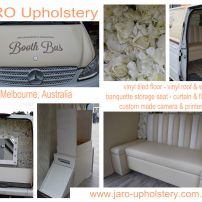 Booth Bus Upholstery - vinyl tiles & walls, curtain, banquette seat, flower wall.........