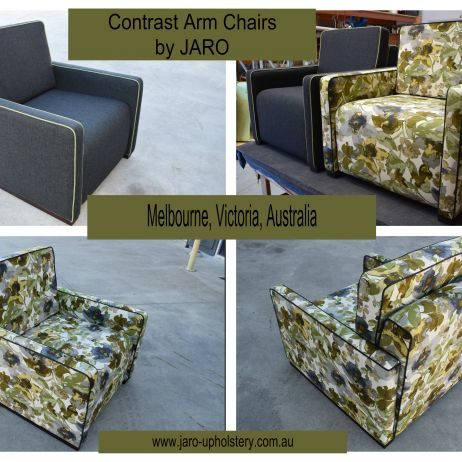 Arm Chair with Contrast Piping by JARO Upholstery, Melbourne