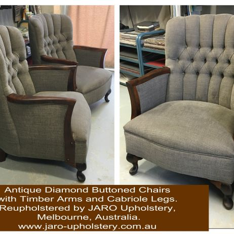 Antique Diamond Buttoned Arm Chair Restoration. New Furniture ReUpholstery Restoration CLICK HERE   JARO