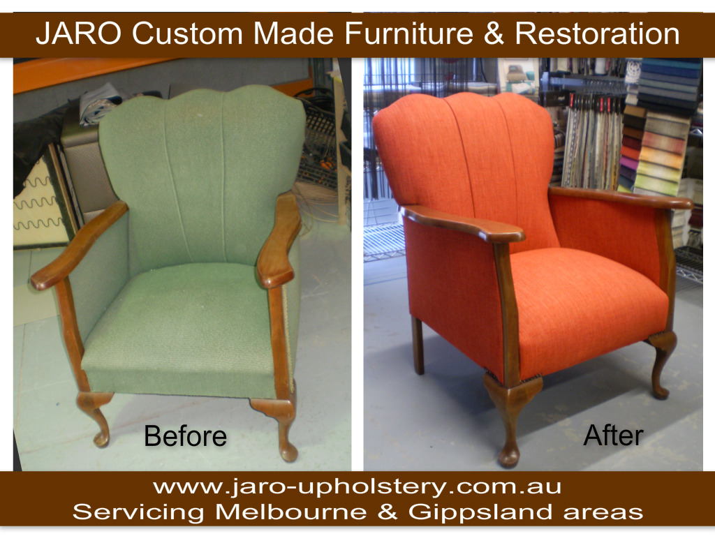 Antique Arm Chair with Fluted Back - reupholstered by JARO ...