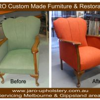 Antique Arm Chair with Fluted Back - reupholstered by JARO Upholstery, Melbourne