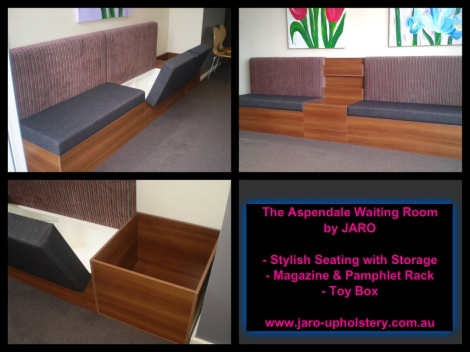 Dental Clinic Seats with Storage, Magazine Rack and Toy Box by JARO