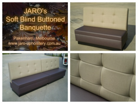 Banquette Restaurant Seat with blind buttons custom made to fit your venue.
