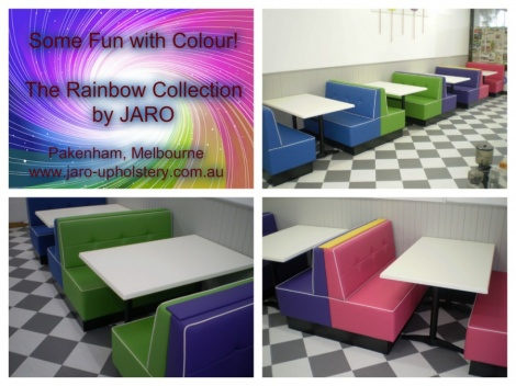 Bright Banquette Seats custom made for an ice cream palour. Suit all restaurant venues