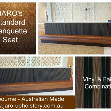 Restaurant & Cafe Banquette Seats in combination of fabric backs and vinyl seats made in Melbourne