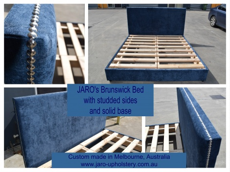 JARO's Brunswick Upholstered Bed - strong custom made in Melbourne in all bed sizes and colours.