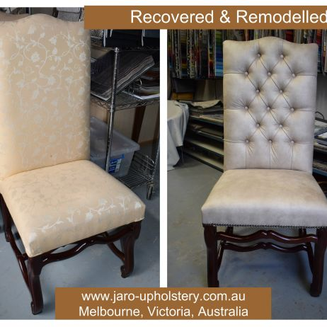 Reupholstered & Remodelled Dining Chairs by JARO, Melbourne Upholstery
