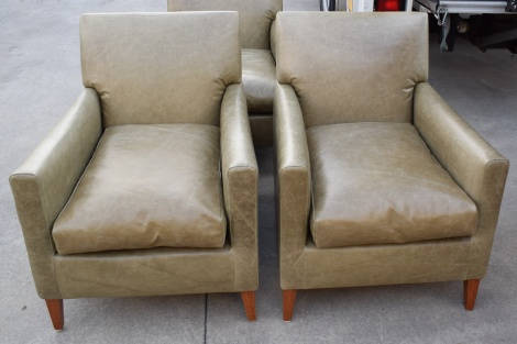 Arm Chairs Recovered in Rustic Leather