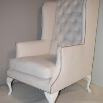 White Wing Chair with Soft Tufting and Studs