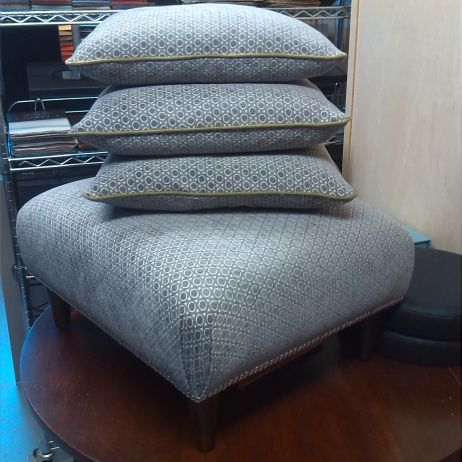 Reupholstered Ottoman & Matching Scatter Cushions