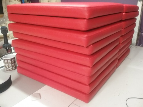 Upholstered Seat Panels for Sports Shop Bench Seating.