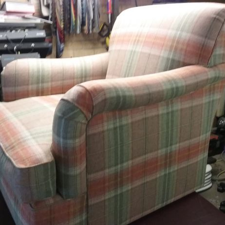 Arm Chairs Recovered in Tartan Check
